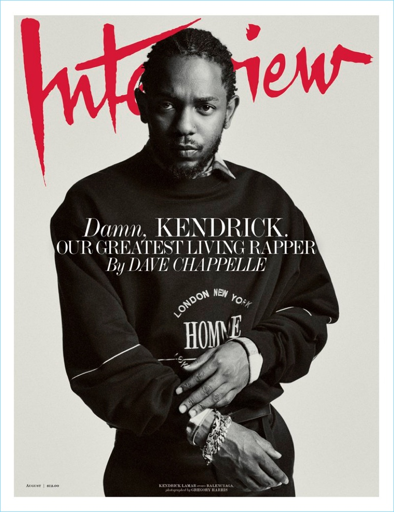 Kendrick Lamar wears a Balenciaga sweatshirt $595 for the August 2017 cover of Interview magazine.