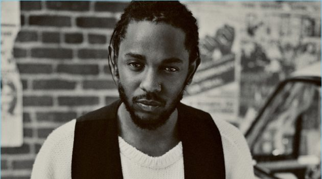Front and center, Kendrick Lamar wears an Ann Demeulemeester vest with a Raf Simons sweater and Simon Miller jeans.
