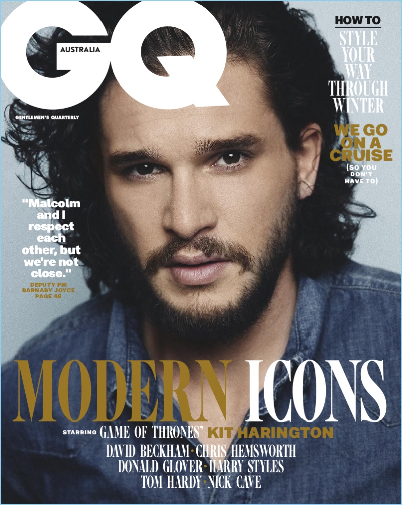 Kit Harington covers the August 2017 issue of GQ Australia.
