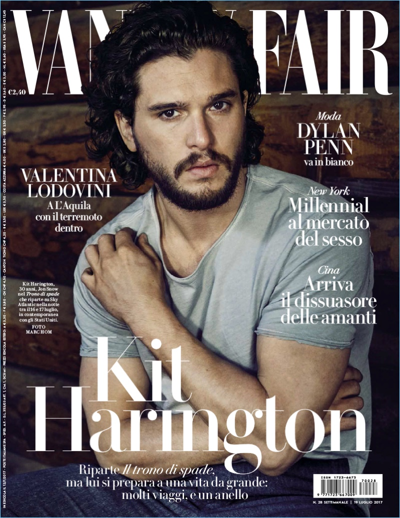 Wearing a simple t-shirt, Kit Harington covers the July 2017 issue of Vanity Fair Italia.