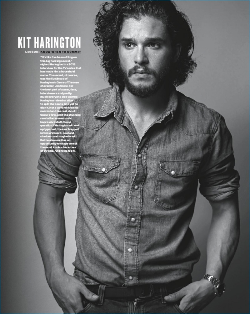 Appearing in a black and white photo, Kit Harington graces the pages of GQ Australia.
