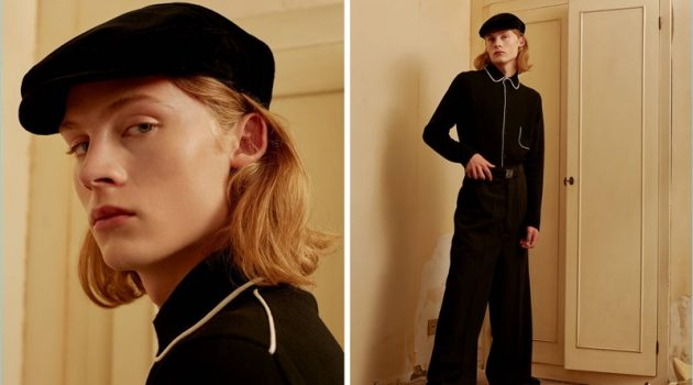 Retro Driver: Samuel wears a Dolce & Gabbana velvet flat cap $245 with an Annapurna pajama style cardigan $493 and Rick Owens oversize pants $810. He also sports a Loewe reversible anagram leather belt $490.