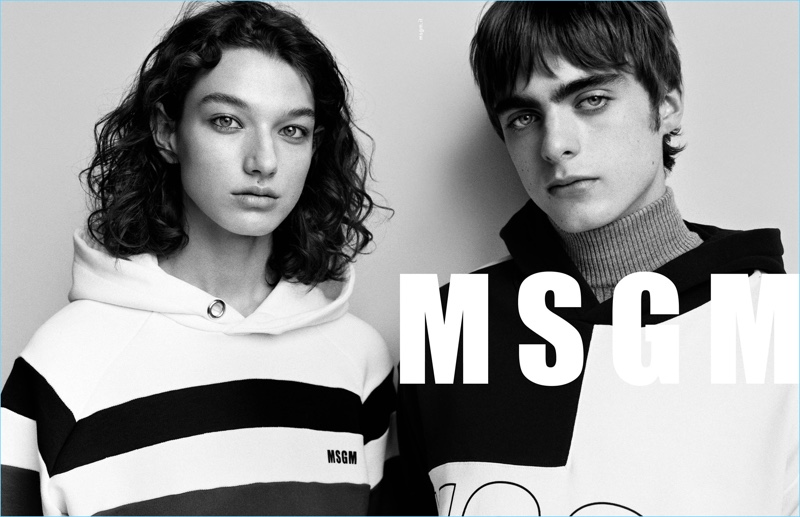 Models McKenna Hellam and Lennon Gallagher front MSGM's fall-winter 2017 campaign.