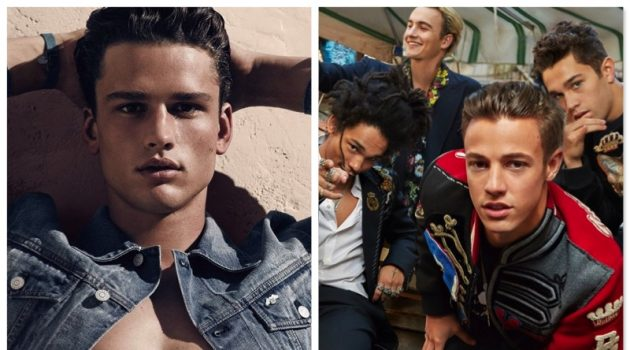 Left: Simon Nessman for Armani Exchange Right: Luka Sabbat, Brandon Lee, Cameron Dallas, and Austin Mahone for Dolce & Gabbana