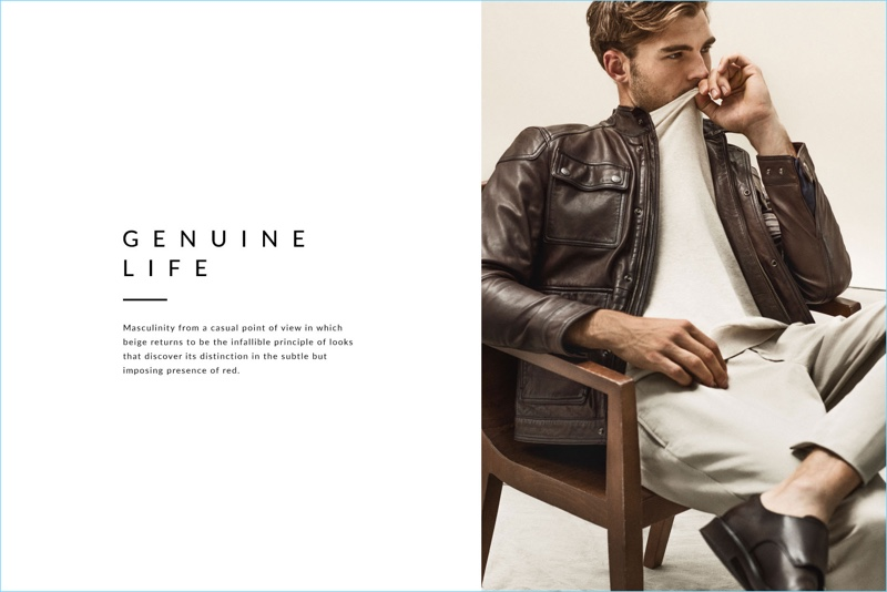 Patrick Kafka embraces neutrals with a clean look from Massimo Dutti.