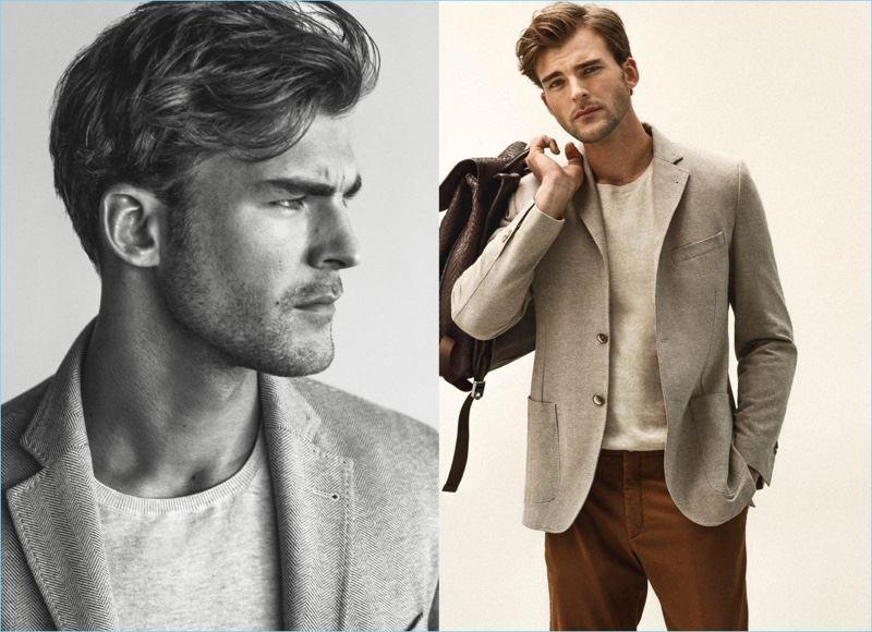 Reuniting with Massimo Dutti, Patrick Kafka dons a sensible blazer with a lightweight knit and pleated pants.