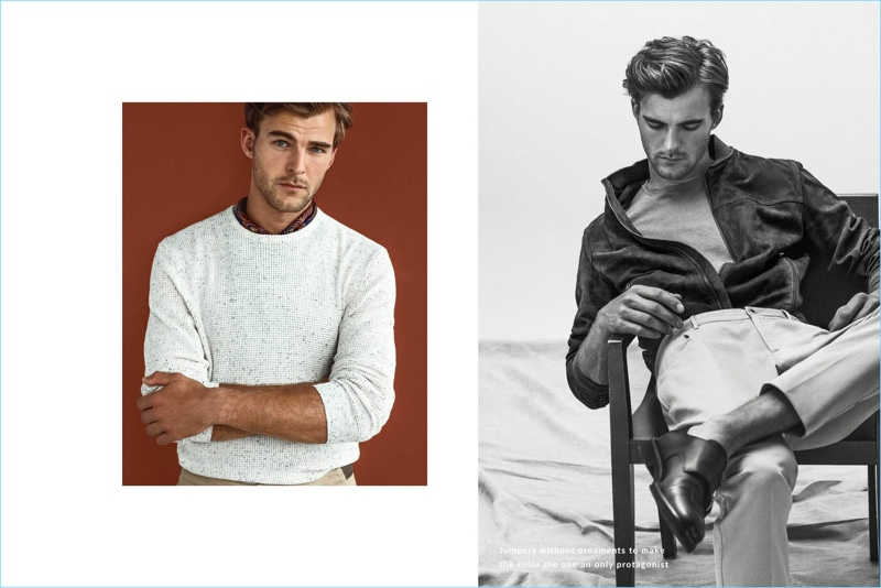 Massimo Dutti enlists Patrick Kafka for a chic editorial featuring neutral fashions.
