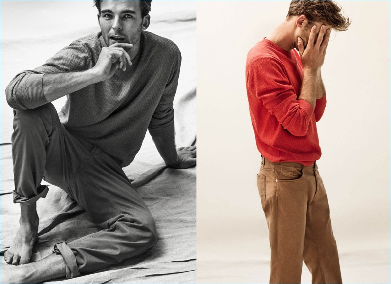 Spanish brand Massimo Dutti adds color to its arsenal with a red pullover.