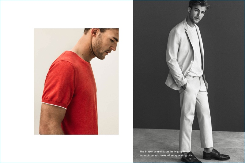 Taking to the studio, Patrick Kafka wears neutral and red fashions by Massimo Dutti.