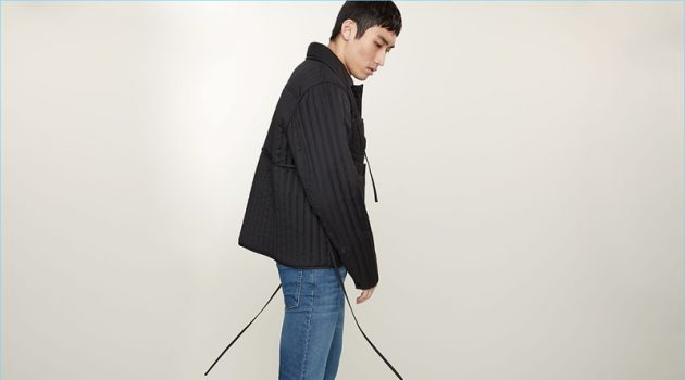 Front and center, Do Byungwook wears a Craig Green quilted jacket and A.P.C. Petit New Standard slim-leg jeans.