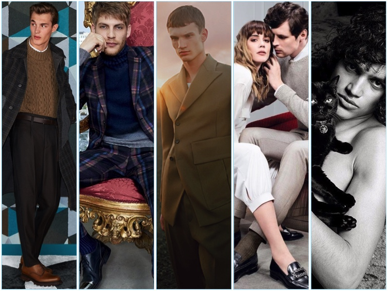 Men's fashion campaigns from Salvatore Ferragamo, Etro, Dirk Bikkembergs, Fratelli Rossetti, and Givenchy