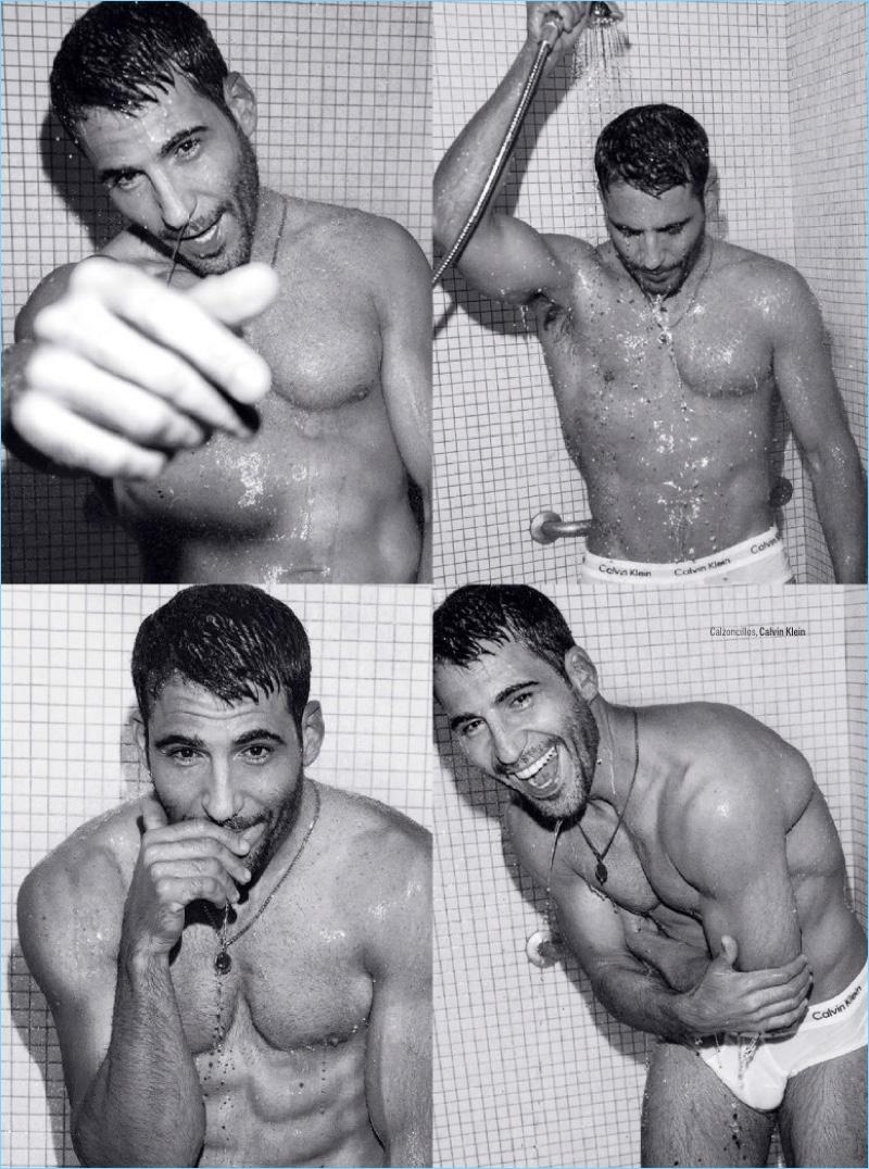 Taking a shower with GQ México, Miguel Ángel Silvestre wears Calvin Klein underwear.