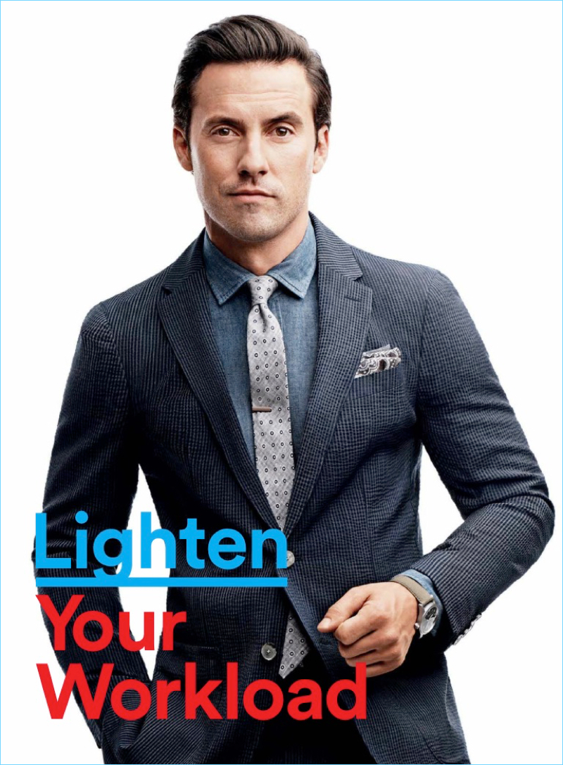Milo ventimiglia stars in gq photo shoot dresses for the office suiting up for gq milo ventimiglia wears a hilfiger edition suit with a salvatore piccolo ccuart Choice Image