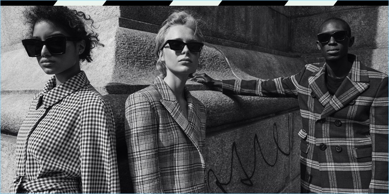 Models wear sunglasses from Off-White's Warby Parker collaboration.