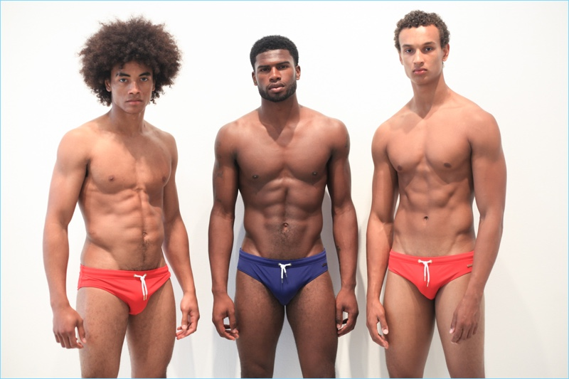 Kawan, Broderick Hunter, and Drayton Ratcliff pose in swimwear at Parke & Ronen's spring-summer 2018 casting.