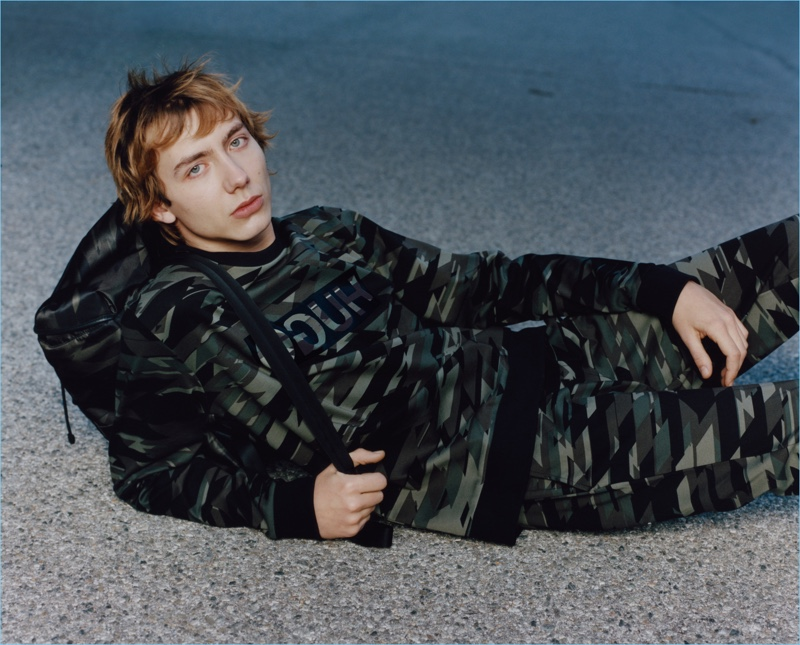 Model Paul Hameline stars in HUGO's fall-winter 2017 campaign.