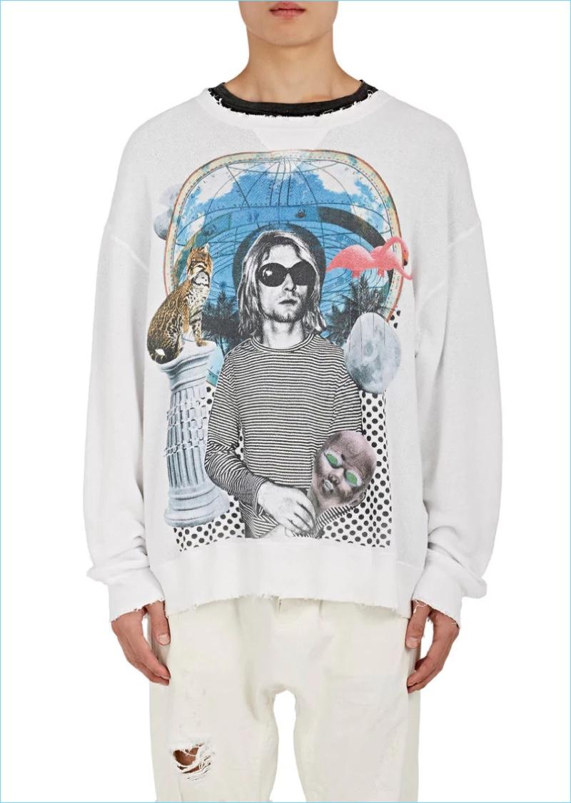 R13 Distressed Graphic Kurt Cobain Cotton Sweatshirt