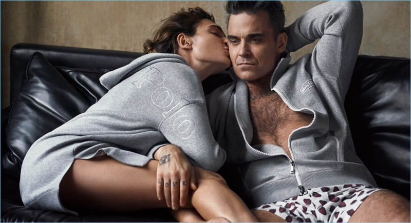 Ayda kisses Robbie Williams in Marc O'Polo's new campaign.