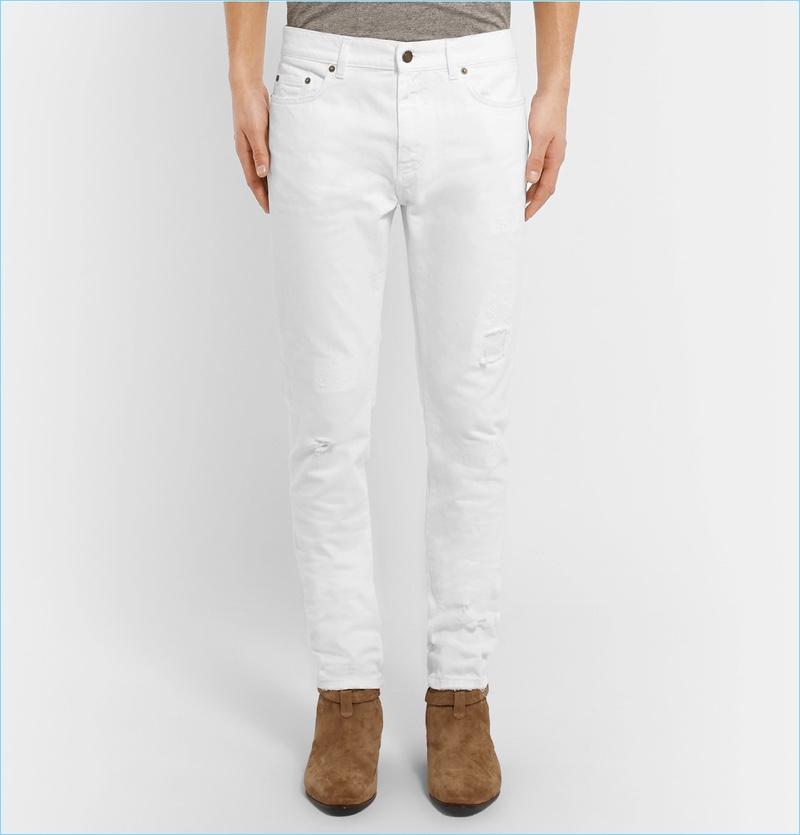 Saint Laurent Skinny-Fit 15cm Hem Distressed White Denim Jeans