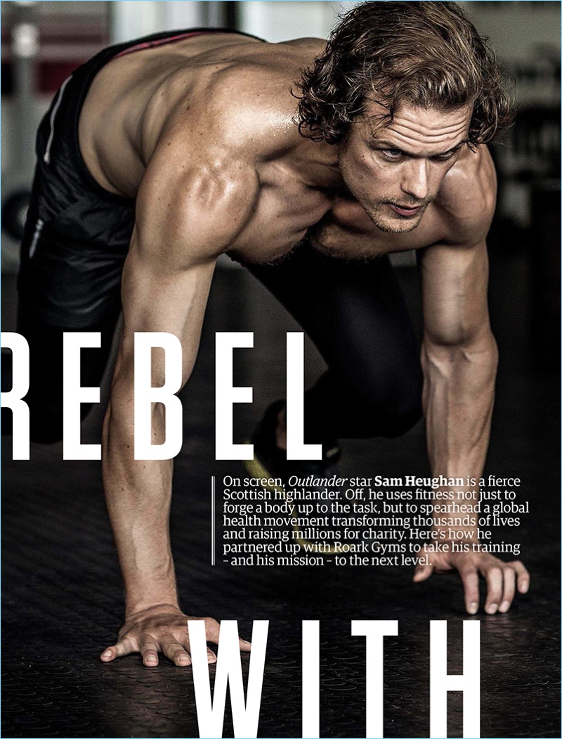 Working out, Sam Heughan graces the pages of Men's Health South Africa.