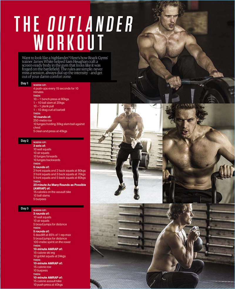 Men's Health South Africa shares Sam Heughan's workout for Outlander.