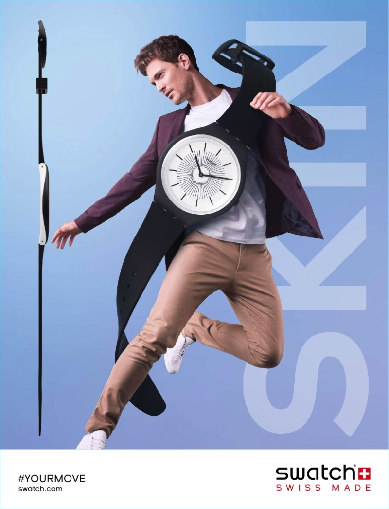 An advertising image featuring the Swatch SKIN watch.