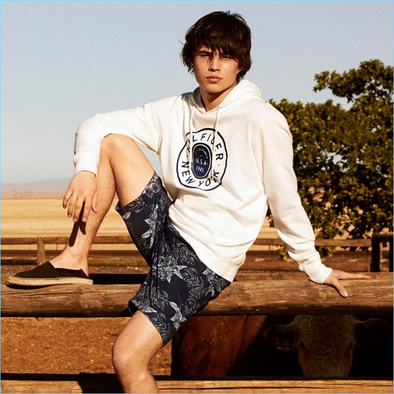 Beyond the Beach: Hilfiger New York Hoodie $109.50 and Blue Hawaii Club Shorts $99.50