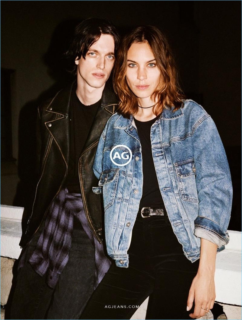 Channeling nineties style, Reuben Ramacher and Alexa Chung star in AG's fall-winter 2017 campaign.