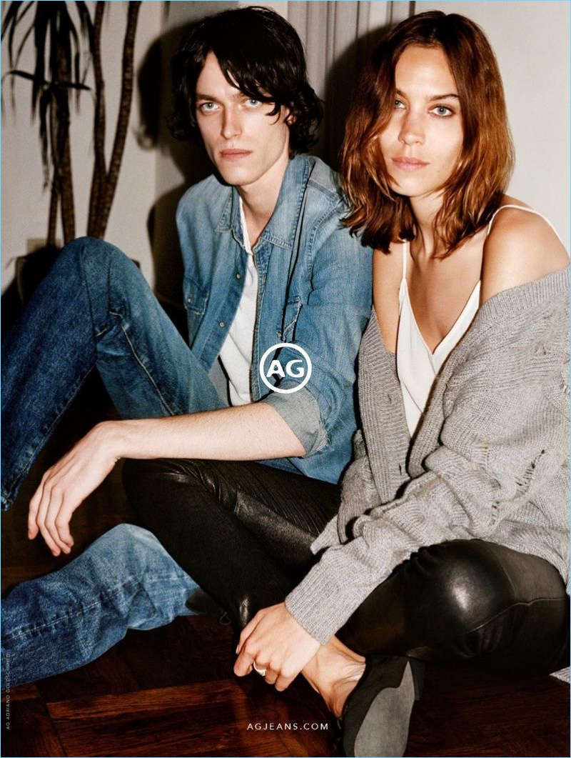 Angelo Pennetta photographs Reuben Ramacher and Alexa Chung for AG's fall-winter 2017 campaign.