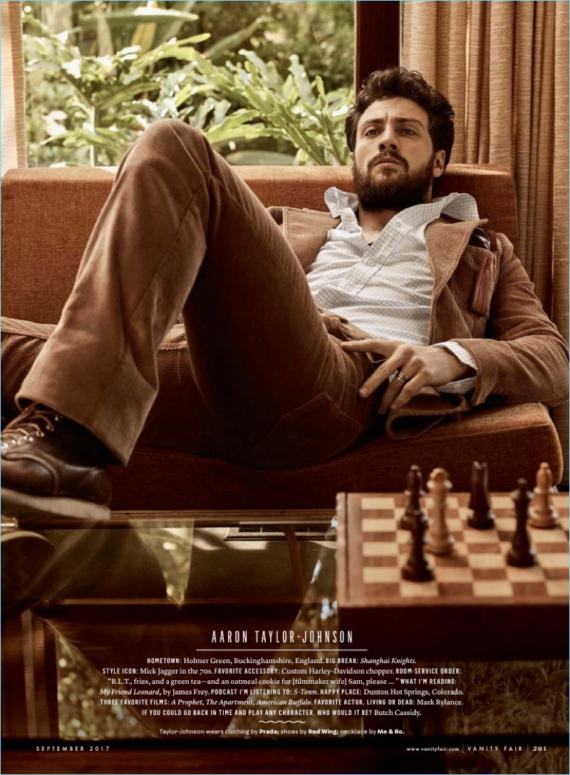 Aaron Taylor-Johnson relaxes in a Prada look with Red Wing boots.