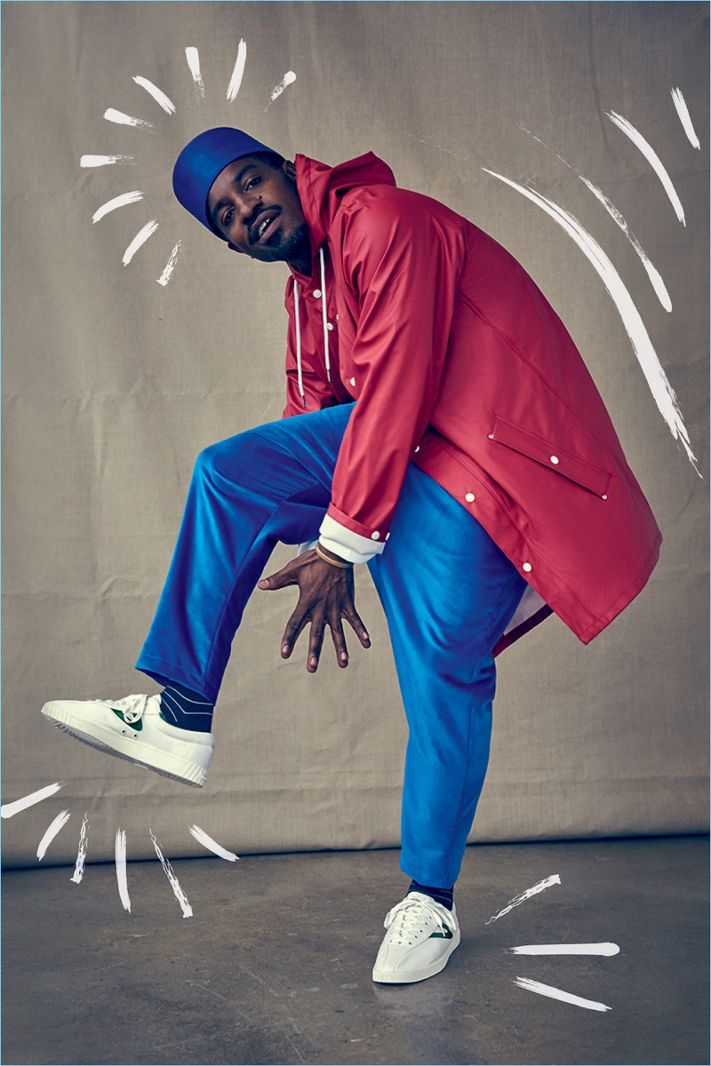 Busting a move, André 3000 fronts Tretorn's fall-winter 2017 campaign.