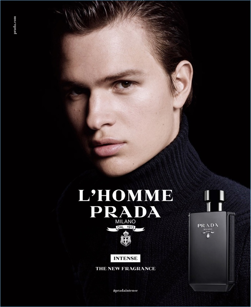 Ansel Elgort reunites with Prada for its L'Homme Intense fragrance campaign.