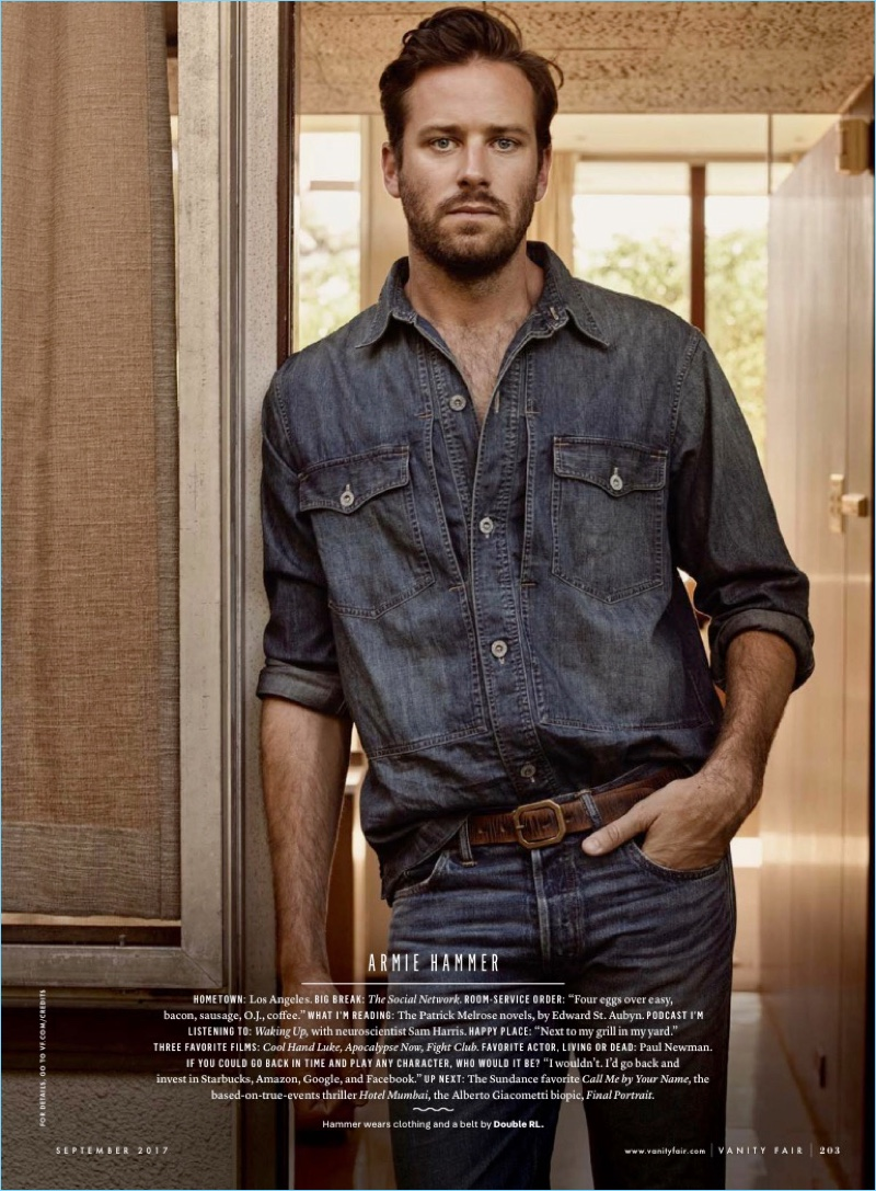 Armie Hammer doubles down in denim from Double RL.