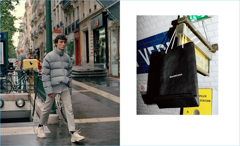 John L. takes to the streets of Paris in a Balenciaga look.