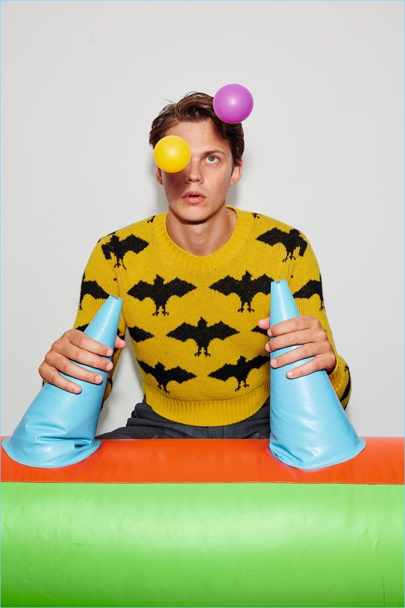Embracing a pop of color, Bill Skarsgård rocks Gucci.
