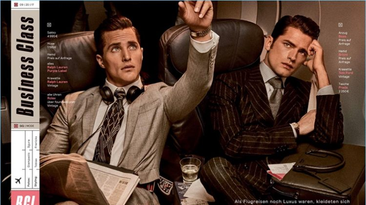 Business Class: Sean O'Pry & Ollie Edwards for GQ Germany