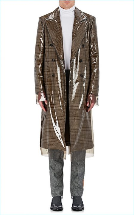 Calvin Klein 205W39NYC Checked Virgin Wool Coat and Removable Cover