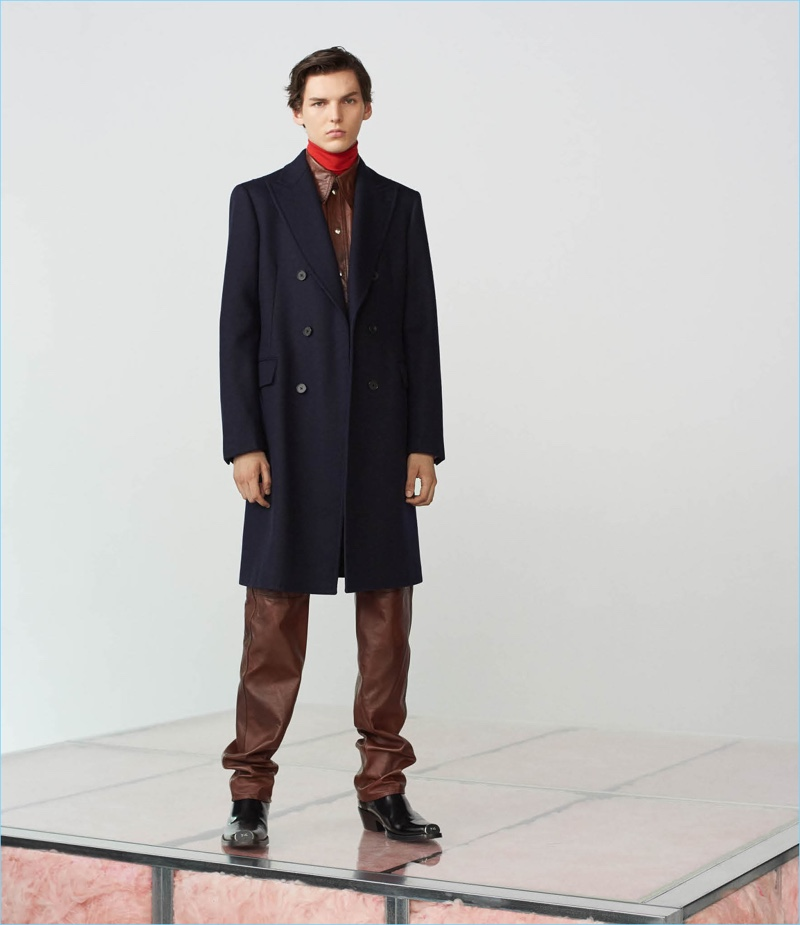 Make a leather statement in Calvin Klein 205W39NYC's leather western shirt $2,495 and leather pants $2,495. Finish the look with the label's moleskin coat $1,995, turtleneck shirt $295, and Spazzolato leather cowboy boots $1,395.