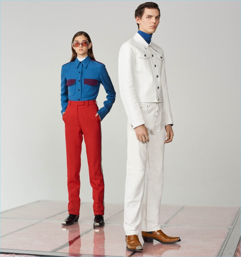 Trade out your denim for Calvin Klein 205W39NYC's leather western shirt $1,850 and straight jeans $2,495. Here, the leather pieces go with a cotton turtleneck shirt $295 and Spazzolato leather Chelsea boots $1,095.