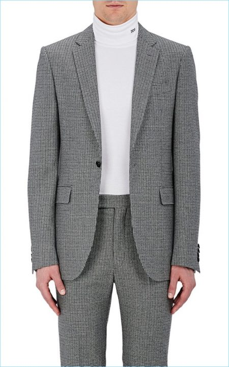 Calvin Klein 205W39NYC Houndstooth Wool One-Button Sportcoat