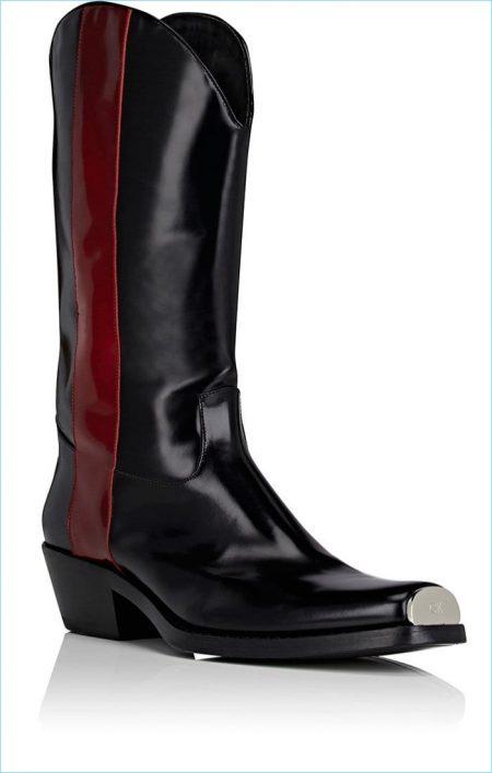 Calvin Klein 205W39NYC Spazzolato Leather Cowboy Boots