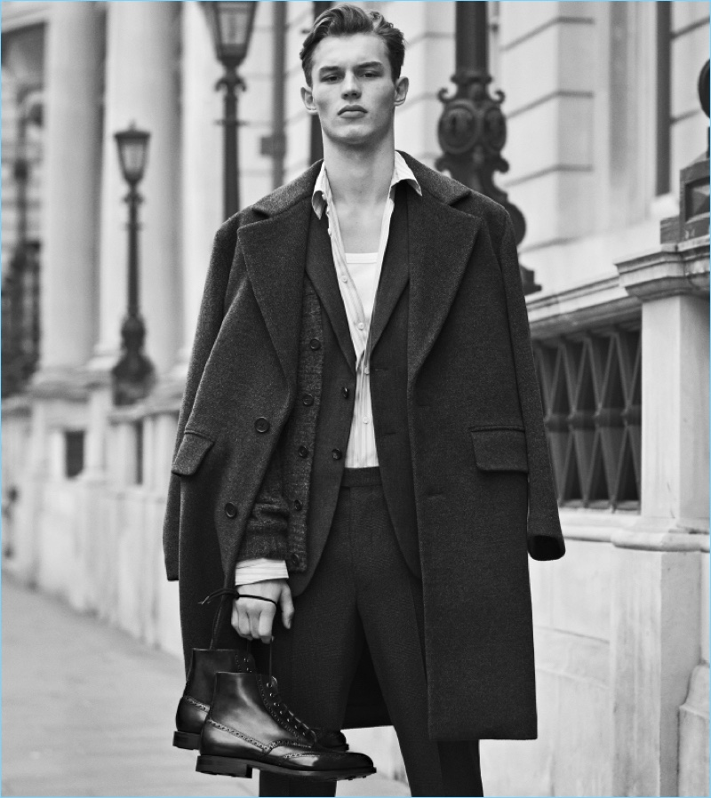 Posing with Church's Renwick leather boots, Kit Butler stars in the brand's fall-winter 2017 campaign.