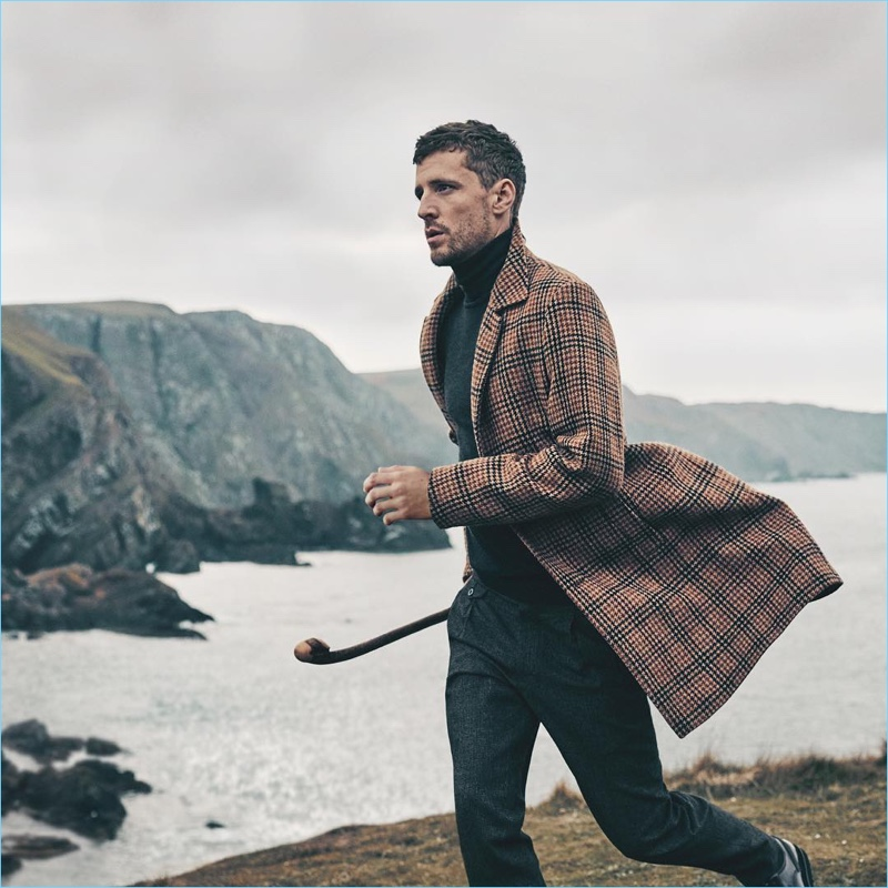 British model George Barnett takes to the outdoors for DAKS' fall-winter 2017 campaign.