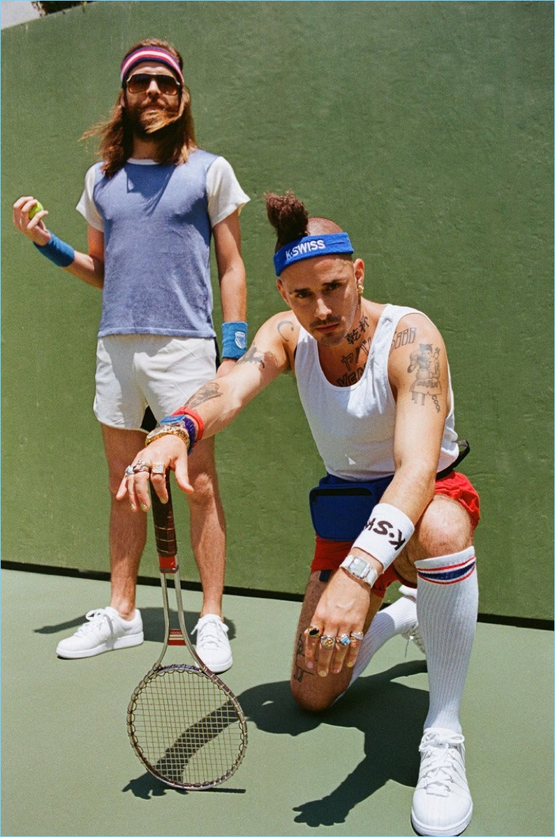 DNCE members Jack Lawless and Cole Whittle front a tennis-inspired campaign for K-Swiss.
