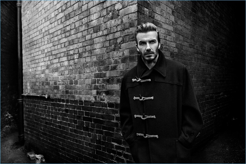 Appearing in a black and white image, David Beckham fronts Kent & Curwen's fall-winter 2017 campaign.