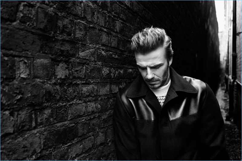 Wearing a leather detailed jacket, David Beckham stars in Kent & Curwen's fall-winter 2017 campaign.
