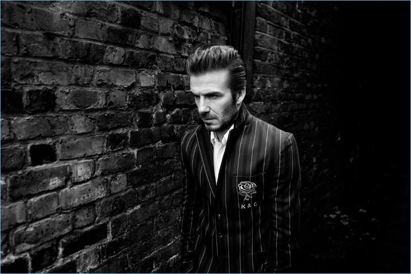 Going preppy, David Beckham wears a striped blazer for Kent & Curwen's fall-winter 2017 campaign.