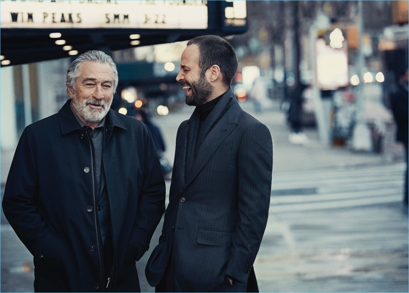 Enjoying a conversation, Robert De Niro and Benjamin Millepied appear in Ermenegildo Zegna's fall-winter 2017 campaign.