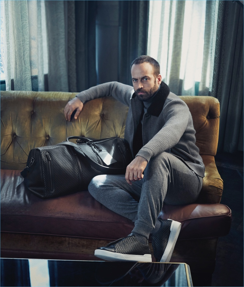 Benjamin Millepied appears in Ermenegildo Zegna's fall-winter 2017 campaign.