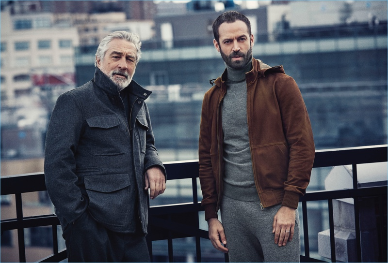 Francesco Carrozzini photographs Robert De Niro and Benjamin Millepied for Ermenegildo Zegna's fall-winter 2017 campaign.
